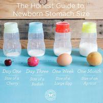 Évolution de la grosseur de l'estomac de bébé pendant le premier mois.