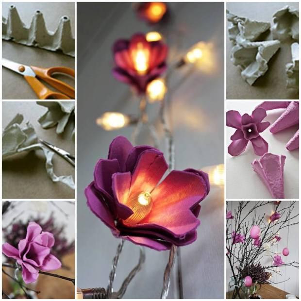 Guirlande de lumières avec fleurs en carton. Trop cute!