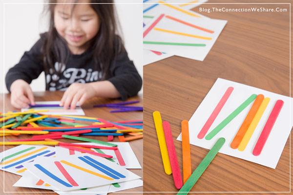 Jeu d'associations des couleurs (bâtons de Popsicle de couleur facilement trouvables au Dollorama!). Super blog: http://blog.theconnectionweshare.com/