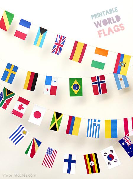 Drapeaux du monde, pour les plus vieux. Toujours chez www.mrprintables.com