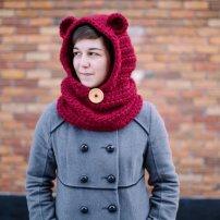Foulard avec capuchon et oreilles d'ours...