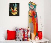 Jolies oeuvres sur du textile, du bois, de la toile...